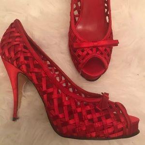 Sexy Aldo Satin Basketweave Red Heel Shoes 40 9